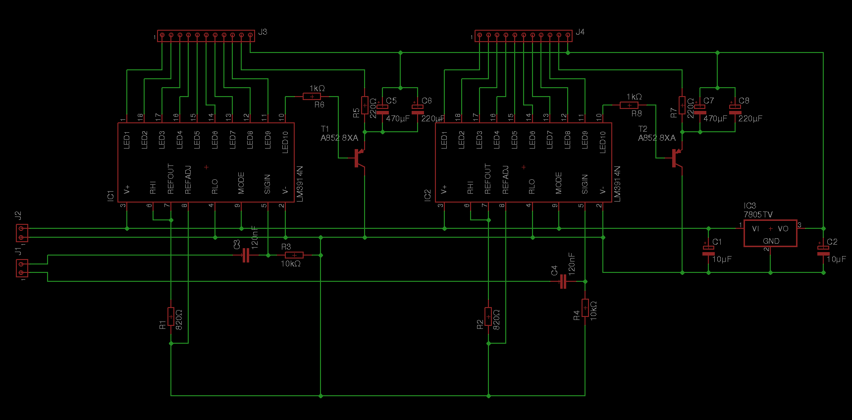 Adding Stereo Vu Meters To A Turntable Michael Duerinckx Meter 3 Circuit Diagram Showing Two Lm3914 Ics Voltage Regulator High Pass Input